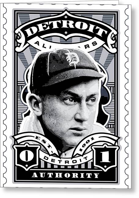 David Cook Los Angeles Greeting Cards - DCLA Ty Cobb Detroit All-Stars Finest Stamp Art Greeting Card by David Cook Los Angeles
