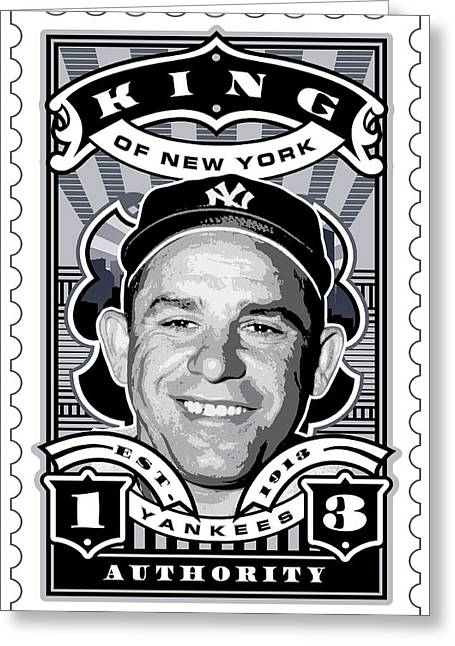 Babe Ruth World Series Greeting Cards - DCLA Yogi Berra Kings Of New York Stamp Artwork Greeting Card by David Cook Los Angeles