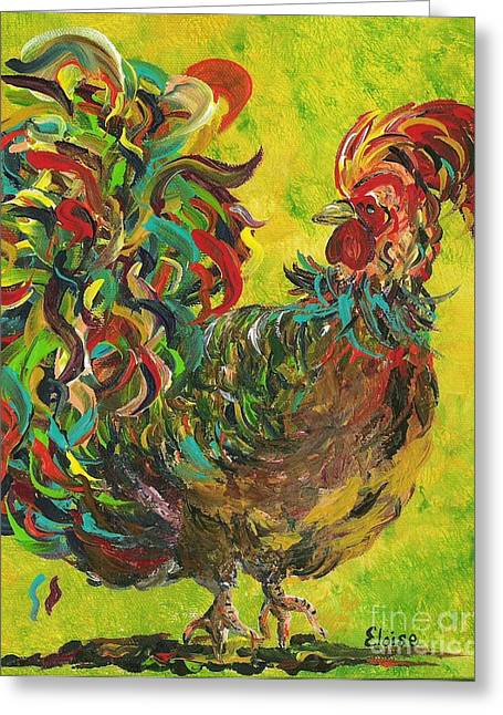 Bible Paintings Greeting Cards - De Colores Rooster #2 Greeting Card by Eloise Schneider