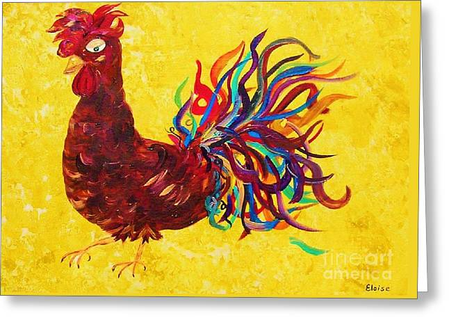Barn Yard Mixed Media Greeting Cards - De Colores Rooster Greeting Card by Eloise Schneider