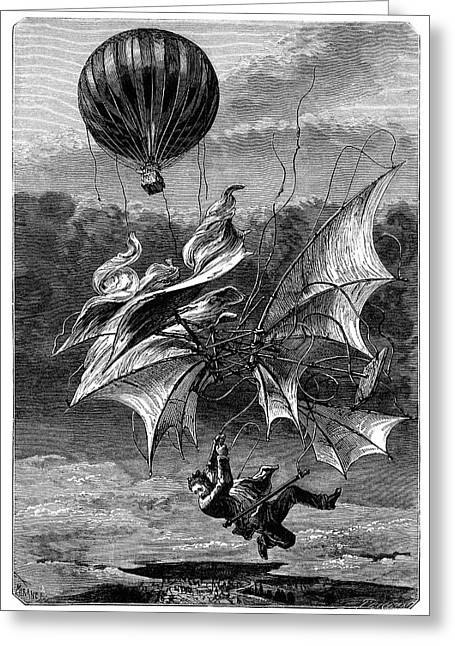 De Groof's Fatal Flight Greeting Card by Science Photo Library