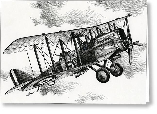 Aircraft Artist Greeting Cards - De Havilland Airco DH.4 Greeting Card by James Williamson