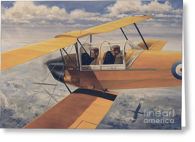 The Tiger Greeting Cards - De Havilland Dh.82 Tiger Moth Basic Greeting Card by TriFocal Communications