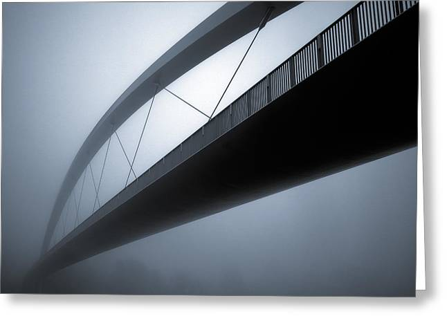 Foggy Bridge Greeting Cards - De Hoge Brug Greeting Card by Dave Bowman