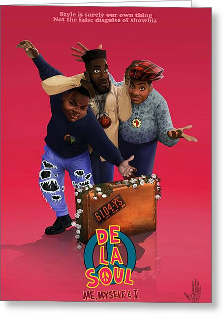 De La Soul Greeting Cards - De la soul Greeting Card by Nelson  Dedos Garcia