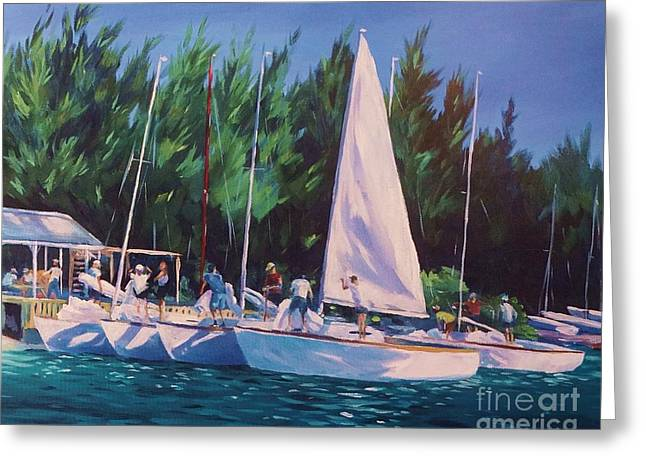 Yacht Club Greeting Cards - De-rigging   Greeting Card by John Clark