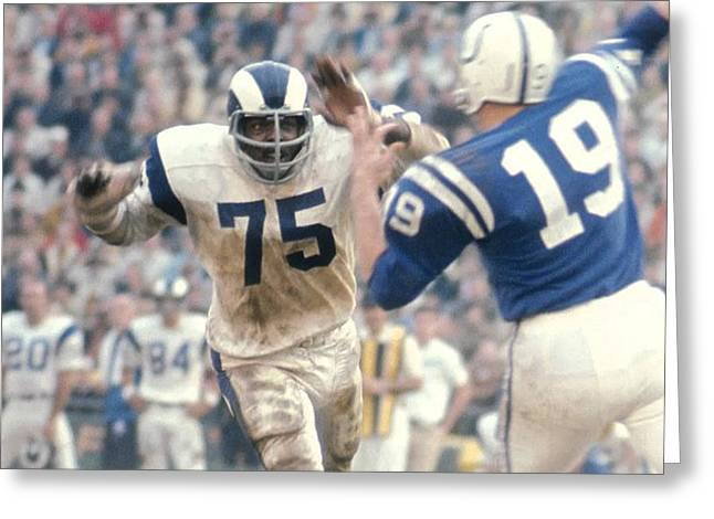 Defensive Greeting Cards - Deacon Jones  Greeting Card by Gianfranco Weiss