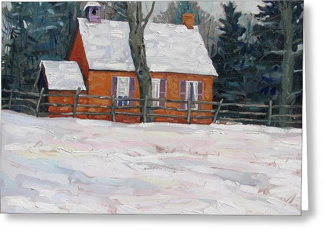 One Room School Houses Paintings Greeting Cards - Deacon School House circa 1898 Greeting Card by Phil Chadwick