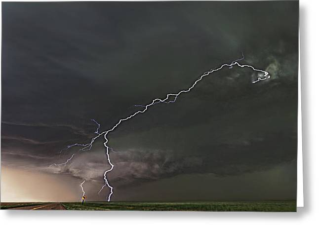 Lightning Photographs Photographs Greeting Cards - Dead Ahead Greeting Card by Zach  Roberts
