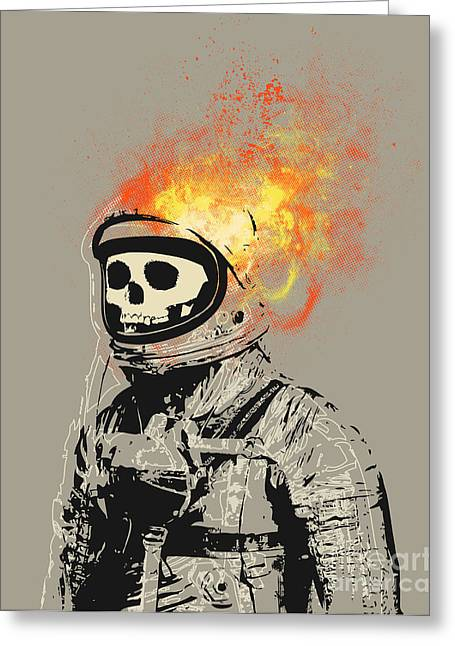 Skull Digital Art Greeting Cards - Dead Astronaut Greeting Card by Budi Satria Kwan