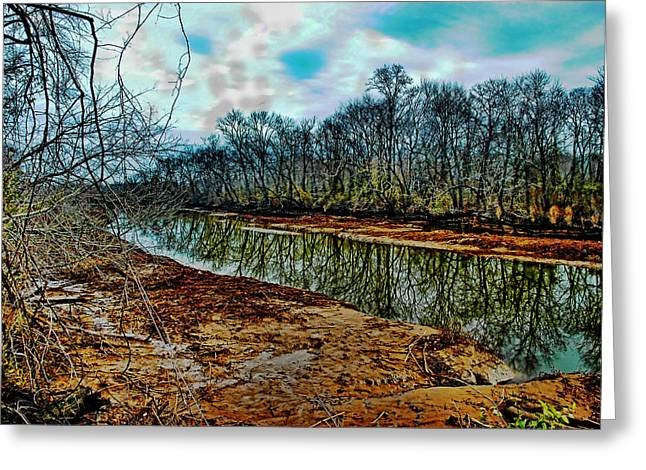 Reflections Of Trees In River Greeting Cards - Dead Calm Greeting Card by Robert Culver
