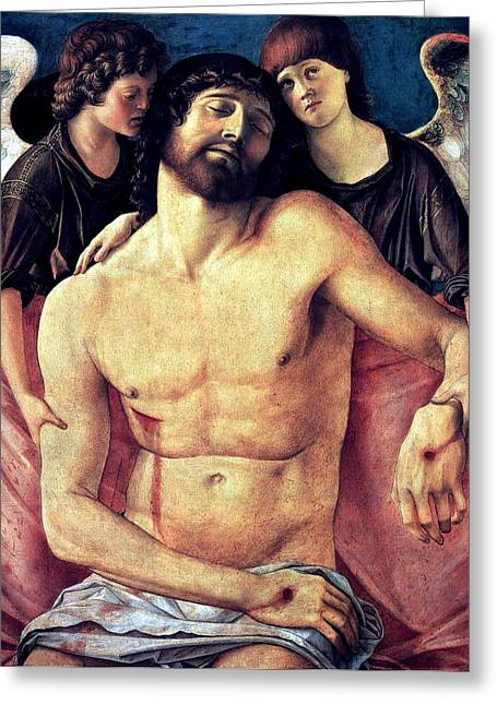 1485 Greeting Cards - Dead Christ Supported By Angels 1485 Giovanni Bellini Greeting Card by Karon Melillo DeVega