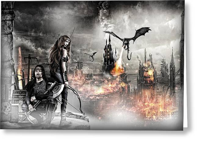 Warrior Goddess Photographs Greeting Cards - Dead City Greeting Card by Wendy White