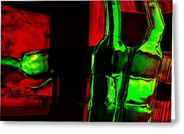Red Wine Bottle Greeting Cards - Dead drunk Greeting Card by Elena Lir-Rachkovskaya