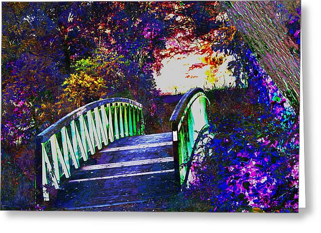 Linked Mixed Media Greeting Cards - Dead end Bridge beautiful graffiti style wall painting digital graphic art by NavinJOSHI facinated b Greeting Card by Navin Joshi