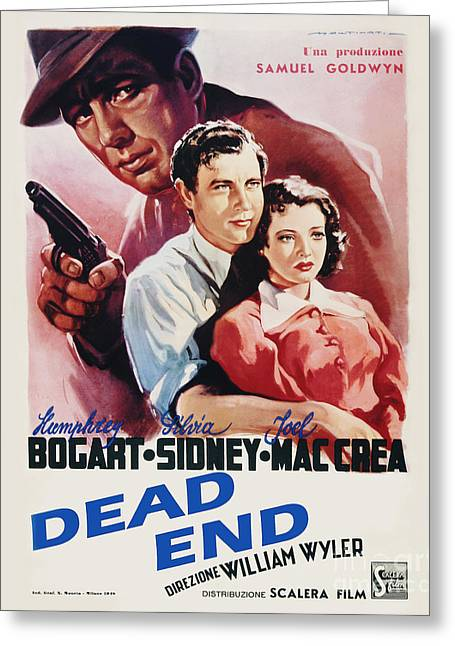 Classic Hollywood Photographs Greeting Cards - Dead End Movie Poster Bogart Greeting Card by MMG Archive Prints