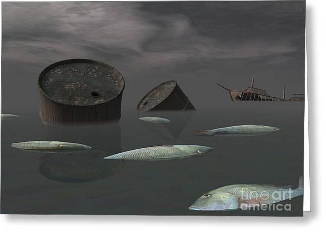 Fish Digital Art Greeting Cards - Dead Fish And Oil Tanks In Polluted Greeting Card by Elena Duvernay