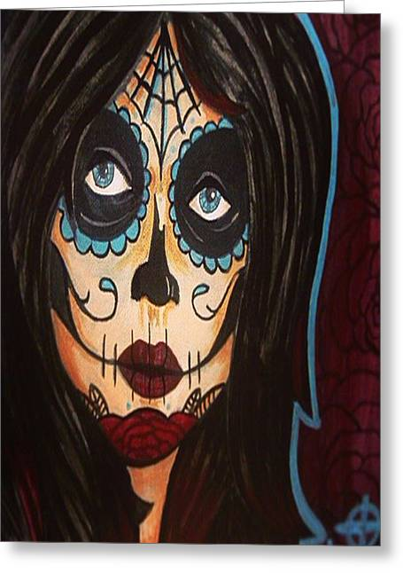 Face Tattoo Mixed Media Greeting Cards - Dead Girl Greeting Card by Jarrod Sparks