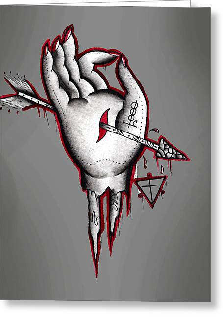 Dead Hand Greeting Card by Gus TripleZero