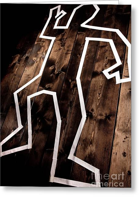 Death Proof Greeting Cards - Dead man outline on floor Greeting Card by Simon Bratt Photography LRPS
