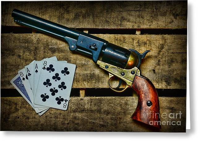 Dead Man's Hand Greeting Card by Paul Ward