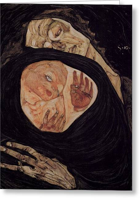 Neo Expressionist Greeting Cards - Dead Mother Greeting Card by Celestial Images