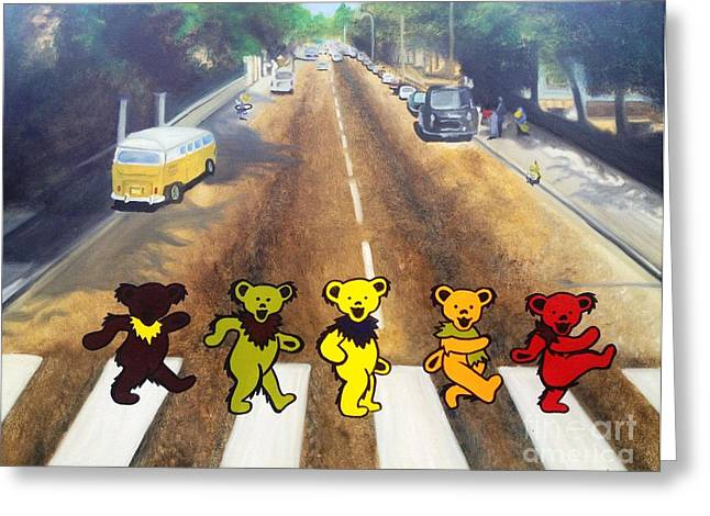Beatles Paintings Greeting Cards - Dead on Abbey Road Greeting Card by Jen Santa