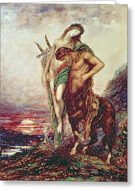 Gustave Moreau Greeting Cards - Dead poet borne by centaur Greeting Card by Gustave Moreau