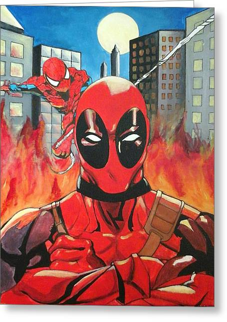 Dead Pool And Spider-man Greeting Card by Eric A