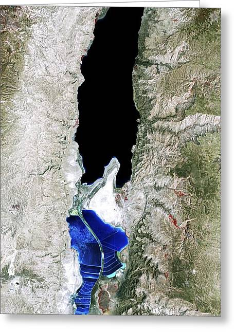 27 Greeting Cards - Dead Sea, 1989 satellite image Greeting Card by Science Photo Library