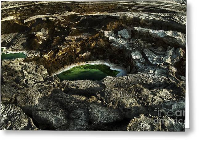 Dead Sea sink holes Greeting Card by Dan Yeger