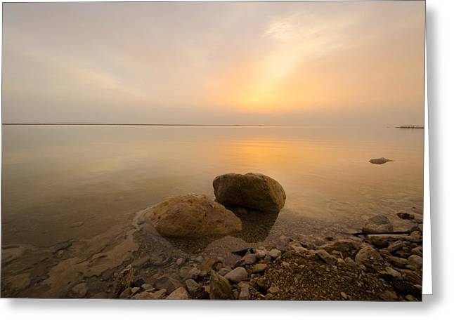 Dead Sea Greeting Cards - Dead Sea Sunrise Greeting Card by David Morefield