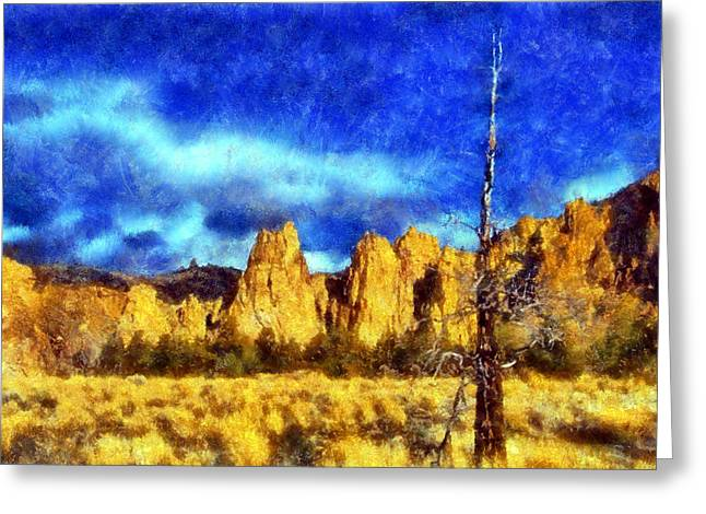 Rooster Cogburn Greeting Cards - Dead Tree at Smith Rock Park Greeting Card by Kaylee Mason
