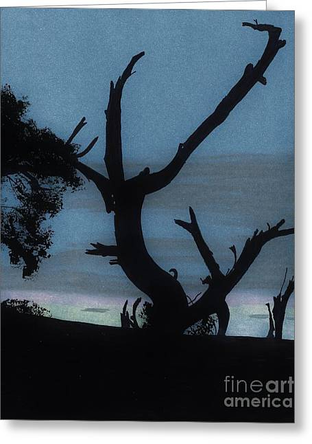 Grey Clouds Drawings Greeting Cards - Sunrise - Silhouette Greeting Card by D Hackett
