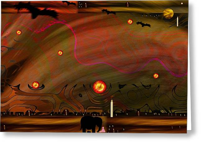 Northernlights Greeting Cards - Dead Valley year 5000  Greeting Card by Pepita Selles