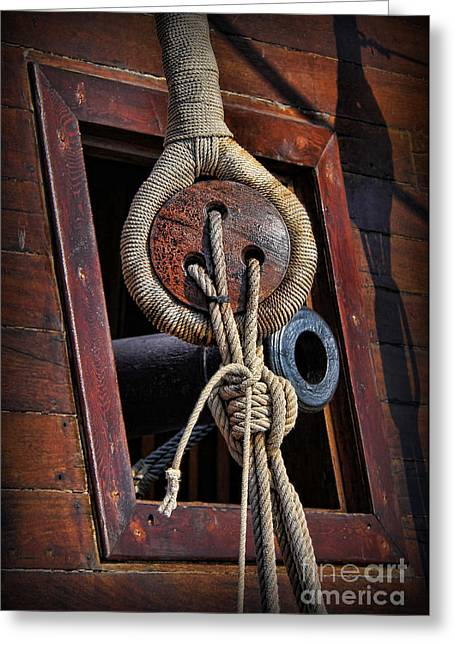 Old Ship Art Greeting Cards - Deadeye And Cannon Greeting Card by Lee Dos Santos