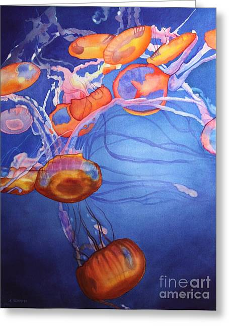 Blue Jellyfish Greeting Cards - Deadly Beauty Greeting Card by Amanda Schuster