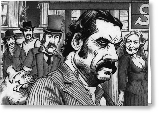 Saloons Drawings Greeting Cards - Deadwood Greeting Card by Justin Clark