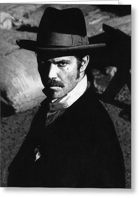 Charcoal Portrait Greeting Cards - Deadwood - Seth Bullock Greeting Card by Justin Clark