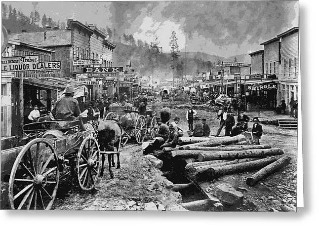 Main Street Greeting Cards - DEADWOOD SOUTH DAKOTA c. 1876 Greeting Card by Daniel Hagerman