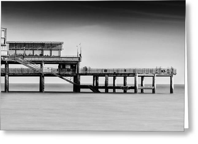 Fishing Pier Greeting Cards - Deal Pier mono Greeting Card by Ian Hufton