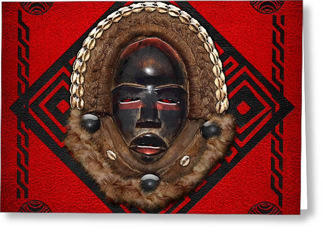 African Heritage Greeting Cards - Dean Gle Mask by Dan People of the Ivory Coast and Liberia on Red Leather Greeting Card by Serge Averbukh