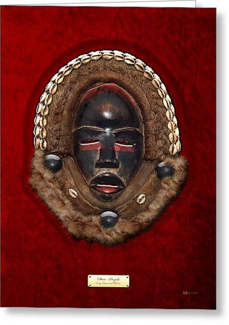 African Heritage Greeting Cards - Dean Gle Mask by Dan People of the Ivory Coast and Liberia on Red Velvet Greeting Card by Serge Averbukh