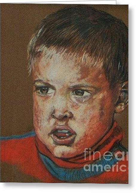 Pastel Portrait Greeting Cards - Dean Greeting Card by John Clark