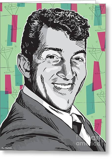 The Moons Greeting Cards - Dean Martin Pop Art Greeting Card by Jim Zahniser