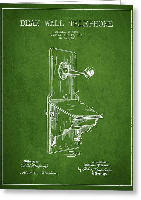 Calling Greeting Cards - Dean Wall Telephone Patent Drawing From 1907 - Green Greeting Card by Aged Pixel