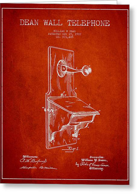Telephone Greeting Cards - Dean Wall Telephone Patent Drawing From 1907 - Red Greeting Card by Aged Pixel