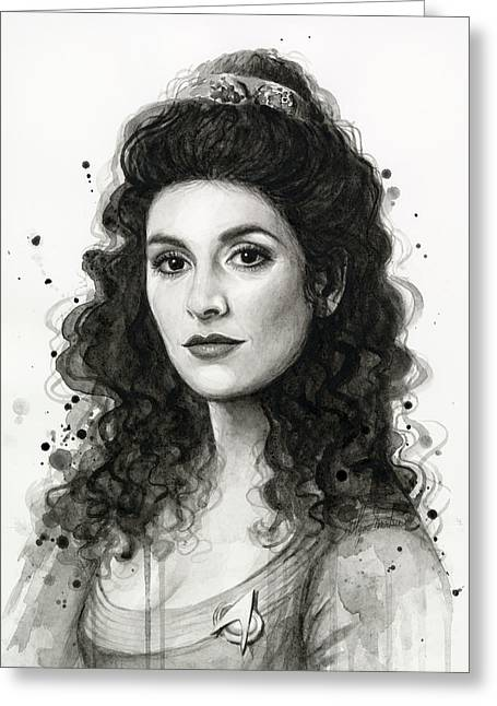 Trek Greeting Cards - Deanna Troi - Star Trek Fan Art Greeting Card by Olga Shvartsur