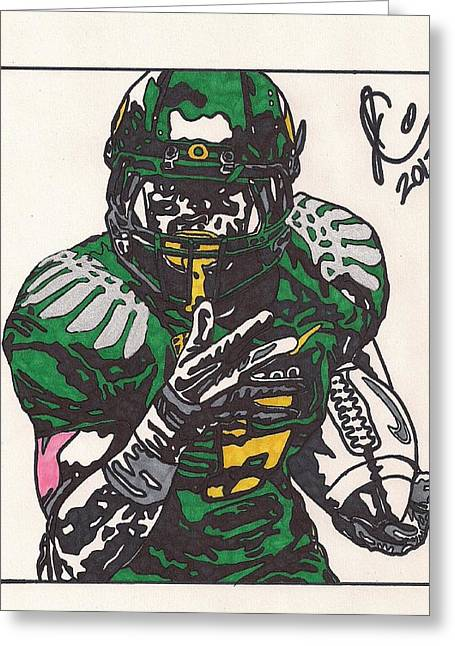 Oregon Ducks Greeting Cards - DeAnthony Thomas Greeting Card by Jeremiah Colley