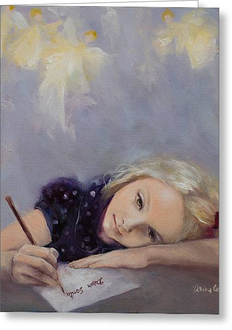Christmas Art Greeting Cards - Dear Santa... Greeting Card by Dorina  Costras